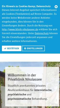 Vorschau der mobilen Webseite www.klinik-nikolassee.de, Klinik Nikolassee