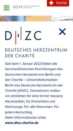Vorschau der mobilen Webseite www.dhzb.de, Deutsches Herzzentrum Berlin