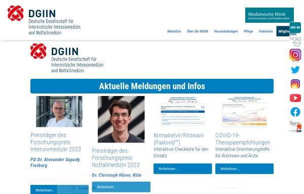 Vorschau von www.dgiin.de, Deutsche Gesellschaft für Internistische Intensivmedizin und Notfallmedizin