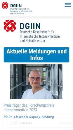 Vorschau der mobilen Webseite www.dgiin.de, Deutsche Gesellschaft für Internistische Intensivmedizin und Notfallmedizin