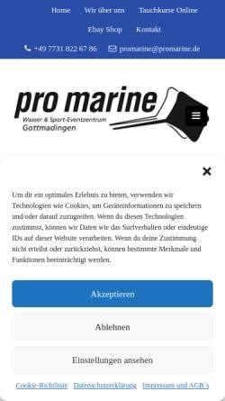 Vorschau der mobilen Webseite promarine.de, Pro Marine Tauchsport