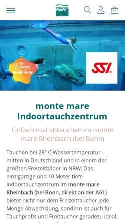 Vorschau der mobilen Webseite www.monte-mare.de, monte mare Indoor Tauchzentrum