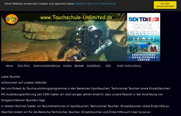 Vorschau von www.tauchschule-unlimited-wuppertal.de, Tauchschule-Unlimited Remscheid