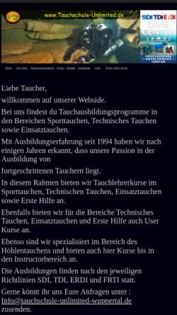 Vorschau der mobilen Webseite www.tauchschule-unlimited-wuppertal.de, Tauchschule-Unlimited Remscheid