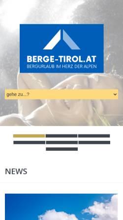 Vorschau der mobilen Webseite www.berge-tirol.at, Bergurlaub in Tirol und Südtirol