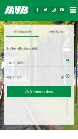 Vorschau der mobilen Webseite www.mvbnet.de, Magdeburger Verkehrsbetriebe