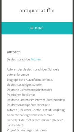 Vorschau der mobilen Webseite www.antiquariat-ffm.de, Autorenlinks im Internet