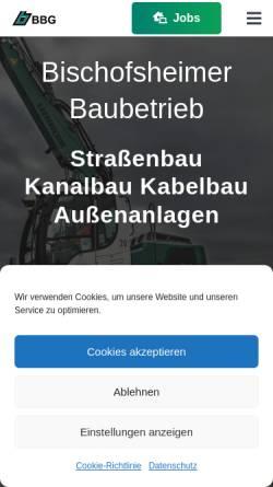 Vorschau der mobilen Webseite www.bbg-bau.de, BBG Bischofsheimer Baubetrieb GmbH & Co. KG