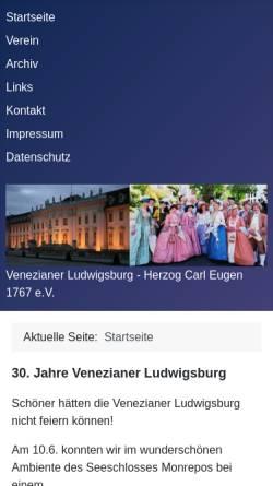 Vorschau der mobilen Webseite www.venezianer-ludwigsburg.de, Bürgerverein zur Pflege barocker Festkultur