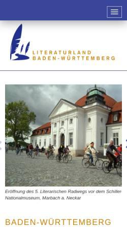 Vorschau der mobilen Webseite www.literaturland-bw.de, Literaturland Baden-Württemberg