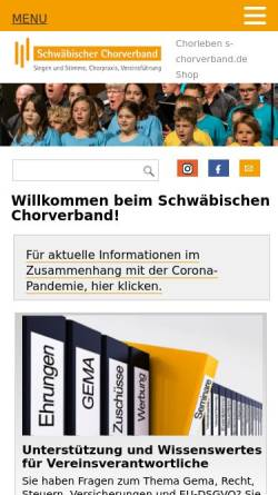 Vorschau der mobilen Webseite www.ssb1849.de, Schwäbischer Sängerbund 1849 e.V.