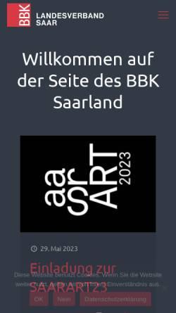 Vorschau der mobilen Webseite www.bbk-saarland.de, BBK Bundesverband Bildender Künstlerinnen und Künstler Landesverband e.V.