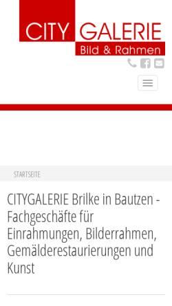Vorschau der mobilen Webseite www.citygalerie-brilke.de, Citygalerie Brilke