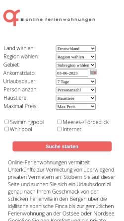 Vorschau der mobilen Webseite www.online-ferienwohnungen.de, Online-Ferienwohnungen.de [Stasch Systemlösungen]