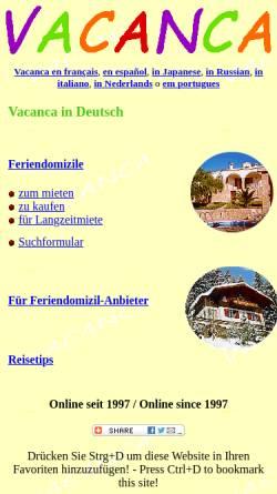 Vorschau der mobilen Webseite www.vacanca.ch, Vacanca.ch
