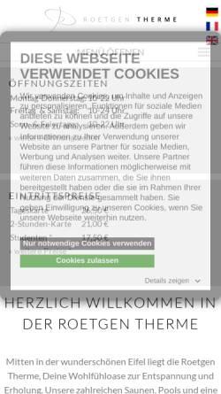 Vorschau der mobilen Webseite www.roetgen-therme.de, Roetgen Therme GmbH