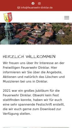 Vorschau der mobilen Webseite www.feuerwehr-dinklar.de, Freiwillige Feuerwehr Dinklar