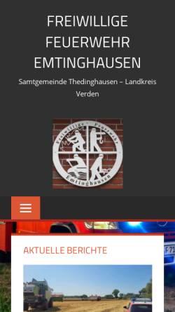 Vorschau der mobilen Webseite www.feuerwehr-emtinghausen.de, Freiwillige Feuerwehr Emtinghausen