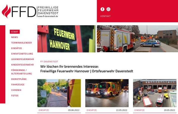 Vorschau von www.ff-davenstedt.de, Freiwillige Feuerwehr Hannover - Ortsfeuerwehr Davenstedt