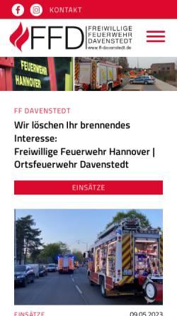 Vorschau der mobilen Webseite www.ff-davenstedt.de, Freiwillige Feuerwehr Hannover - Ortsfeuerwehr Davenstedt