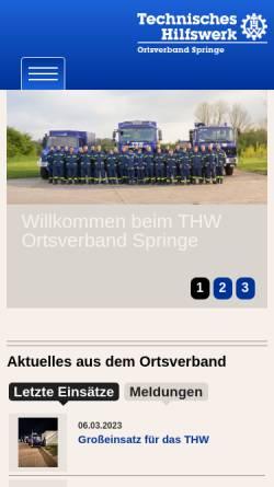 Vorschau der mobilen Webseite www.thw-springe.de, THW Ortsverband Springe