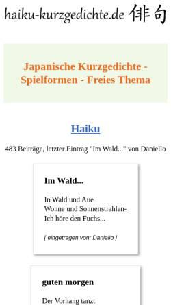 Vorschau der mobilen Webseite www.haiku-kurzgedichte.de, Haiku-Foren