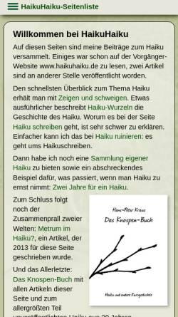 Vorschau der mobilen Webseite www.ziemlichkraus.de, HaikuHaiku