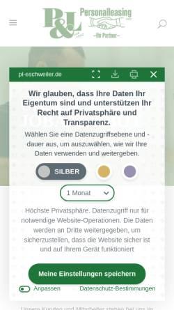 Vorschau der mobilen Webseite pl-eschweiler.de, P&L Personalleasing GmbH