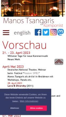Vorschau der mobilen Webseite www.tsangaris.de, Tsangaris, Manos