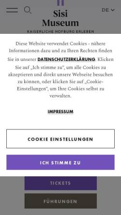 Vorschau der mobilen Webseite www.hofburg-wien.at, Wien, Hofburg: Kaiserappartements und Silberkammer