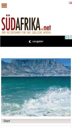 Vorschau der mobilen Webseite www.suedafrika.net, Südafrika Online Reiseführer