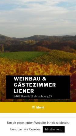 Vorschau der mobilen Webseite www.weinbau-liener.at, Weinbau Liener