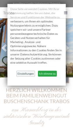 Vorschau der mobilen Webseite www.trabos.at, Weingut Trabos