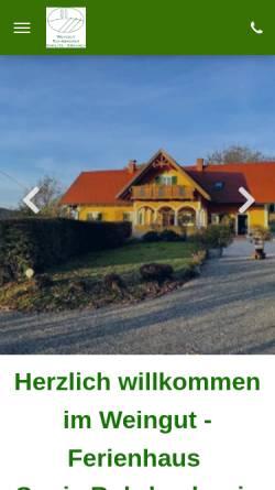 Vorschau der mobilen Webseite www.weingut-rohrbacher.at, Weingut und Ferienhaus Sonja Rohrbacher