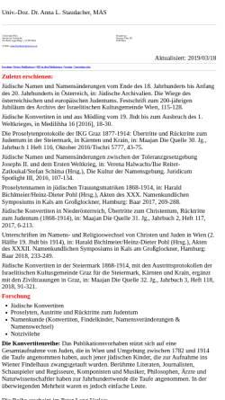 Vorschau der mobilen Webseite homepage.univie.ac.at, Anna Staudacher