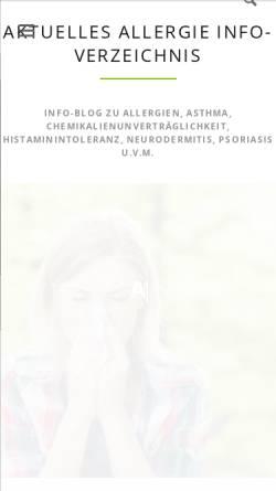 Vorschau der mobilen Webseite www.allergieinfo.de, Allergiedatenbank