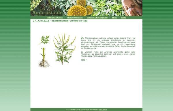 Vorschau von www.ambrosia.de, Ambrosia - Gefahr durch das beifussblättrige Traubenkraut?