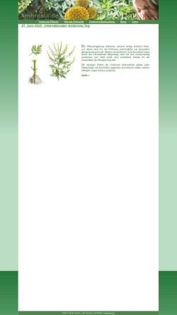 Vorschau der mobilen Webseite www.ambrosia.de, Ambrosia - Gefahr durch das beifussblättrige Traubenkraut?