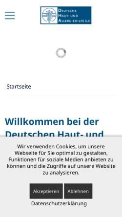 Vorschau der mobilen Webseite www.dha-allergien.de, Deutsche Haut- und Allergiehilfe e.V.