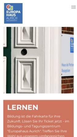Vorschau der mobilen Webseite www.europe-direct-aurich.de, Europahaus Aurich