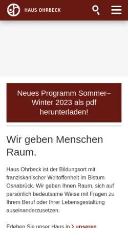 Vorschau der mobilen Webseite www.haus-ohrbeck.de, Haus Ohrbeck