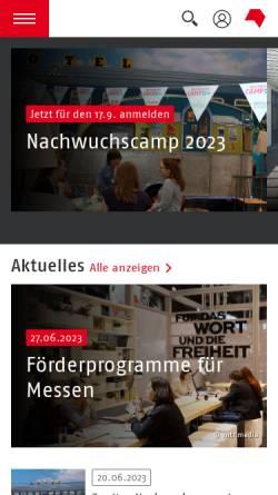 Vorschau der mobilen Webseite www.buchnrw.de, Arbeitgeberverband der Verlage und Buchhandlungen in NRW e.V.