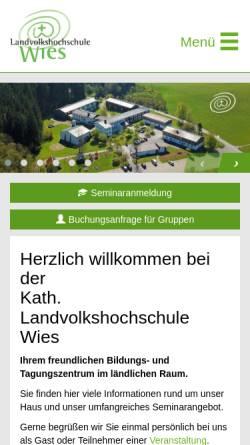 Vorschau der mobilen Webseite www.lvhswies.de, Landvolkshochschule Wies - Bildungszentrum für den ländlichen Raum
