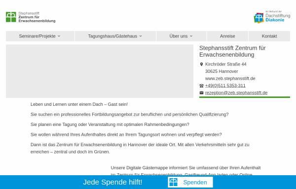 Vorschau von www.dachstiftung-diakonie.de, Zentrum für Erwachsenenbildung Stephansstift - Evangelische Heimvolkshochschule