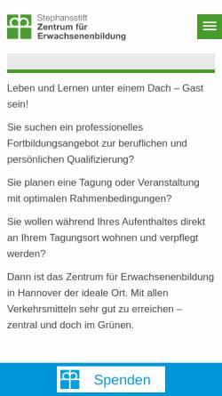 Vorschau der mobilen Webseite www.dachstiftung-diakonie.de, Zentrum für Erwachsenenbildung Stephansstift - Evangelische Heimvolkshochschule