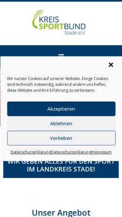 Vorschau der mobilen Webseite www.ksb-stade.de, Kreissportbund Stade e.V.
