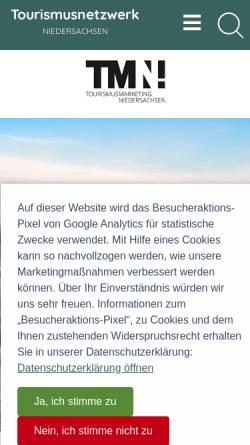 Vorschau der mobilen Webseite www.tourismuspartner-niedersachsen.de, Tourismuspartner Niedersachsen