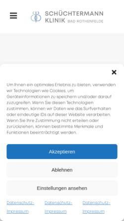Vorschau der mobilen Webseite www.schuechtermann-klinik.de, Schüchtermann-Klinik