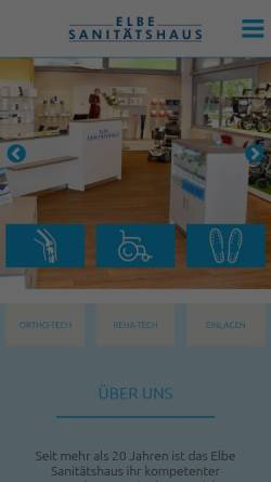 Vorschau der mobilen Webseite www.elbe-sanitaetshaus.de, Elbe-Sanitätshaus