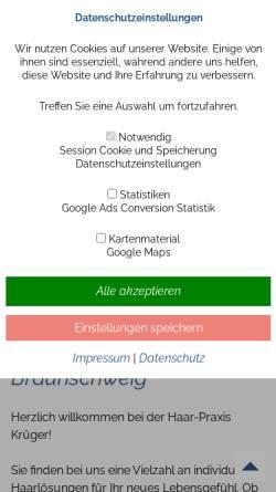 Vorschau der mobilen Webseite www.haarpraxis-krueger.de, Haarpraxis Krüger